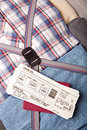Boarding pass passport on suitcase Stock Photo