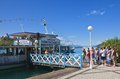 Boarding on a ship lake worthersee austria resort portschach am zey worth Stock Photography