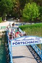 Boarding the ship resort portschach austria before berth am worthersee Stock Image