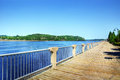 Boardwalk along the saguenay river beautiful fjord in quebec canada Stock Photo