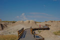 Boardwalk in badlands national park south dakota this is a short curvy one little boy stood gazing at the scenery Royalty Free Stock Photos