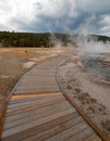 Boardwalk curving around Hot Cascades hot spring in the Lower Geyser Basin in Yellowstone National Park in Wyoming