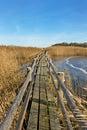 Boardwalk in a lake flow Stock Photo