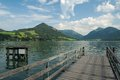 Boardwalk at lake Schliersee Royalty Free Stock Images