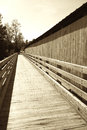 Boardwalk Next to Covered Bridge Royalty Free Stock Photo