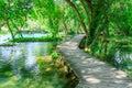 Boardwalk over clear freshwater pools at Krka national park Croatia Royalty Free Stock Photo