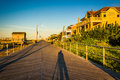 The boardwalk at sunrise in Ventnor City, New Jersey. Royalty Free Stock Photo