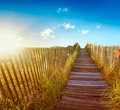 Boardwalk to the beach Royalty Free Stock Images