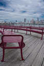 Boardwalk View of Manhattan Royalty Free Stock Photo