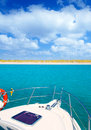 Boat anchored in Formentera Espalmador island Royalty Free Stock Photos