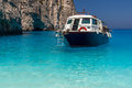 Boat anchored navagio beach also known as shipwreck beach zakynthos island photo taken greece Royalty Free Stock Photos