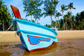 Boat on the beach blue fishing Royalty Free Stock Photo