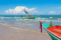 Boat at beach on daylight in thailand Royalty Free Stock Photo
