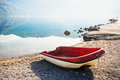 Boat on the beach early in the morning Royalty Free Stock Image