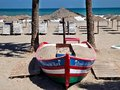 Boat on the beach of estepona spain Stock Image