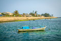 Boat on beach at ly son island quang ngai province vietnam Royalty Free Stock Images