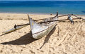 Boat on the beach, Nosy Be, Madagascar Royalty Free Stock Photo