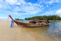 Boat on the beach for travel to island with krabi thailand Stock Photo