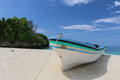Boat at the beach white on of prison island near dar es salaam in tanzania Stock Images