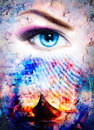 Boat on the beach and woman eye. And structure background, red, orange, yellow, black, violet and blue color. Color painting. Royalty Free Stock Photo