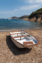 Boat beautiful coastlines elba island tuscany italy Stock Photo