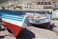 Boat in berth boats balaklava bay famous foreland on south shore of crimea resort ukraine Stock Photography