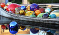 Glass spheres in a boat Royalty Free Stock Photo