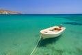 Boat blue lagoon vai beach crete Stock Image