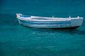 Boat on the blue sea Royalty Free Stock Photo