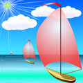 Boat on blue sea in summer boats the day Stock Image
