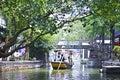 Tourists on boat visit Shanghai Zhujiajiao Water Town Royalty Free Stock Photo