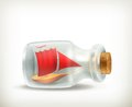 Boat in a bottle, icon Royalty Free Stock Image