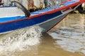 Boat bow make a waves Royalty Free Stock Photo