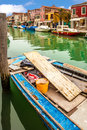 Boat on canal in murano moored island veneto italy Stock Photo