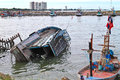 Boat capsized in hua hin Royalty Free Stock Photography