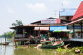 Boat capsized view on bangnoi floating market early in the morning in thailand april Royalty Free Stock Image