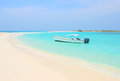 Boat at Cayo de Agua island Stock Images