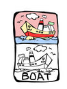 Boat coloring book Royalty Free Stock Image
