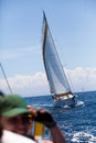 Boat Competitor During of sailing regatta Royalty Free Stock Photography