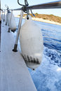 Boat detail sea of white fenders ferry Royalty Free Stock Photo