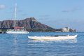 Boat docked by Diamond Head Waikiki Hawaii Royalty Free Stock Photography