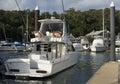 A boat docked in Hamilton Island marina Stock Image