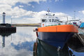 Boat docked in kirkwall harbour orkney scotland Stock Photos