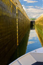 Boat Enters Rhone River Lock, France Stock Photos