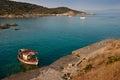 Boat fishing on greek sea Stock Photography