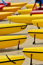 Boat floaters many boats floater arrange as line on sand shown as marine sport and entertainment or enjoy Stock Photo