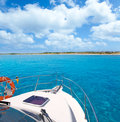 Boat in Formentera island on llevant beach Royalty Free Stock Images