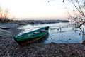 Boat froze in ice the and waits for spring Royalty Free Stock Photography