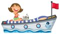 A boat with a girl and a cat illustration of on white background Stock Photography
