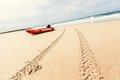 Boat on the gold coast queensland red and tire tracks australia Royalty Free Stock Photos
